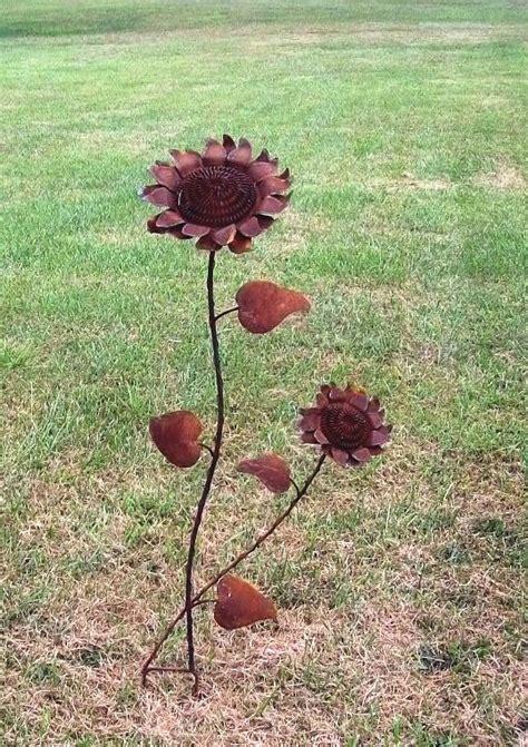 tin yard tin sunflower yard stake yard ornament