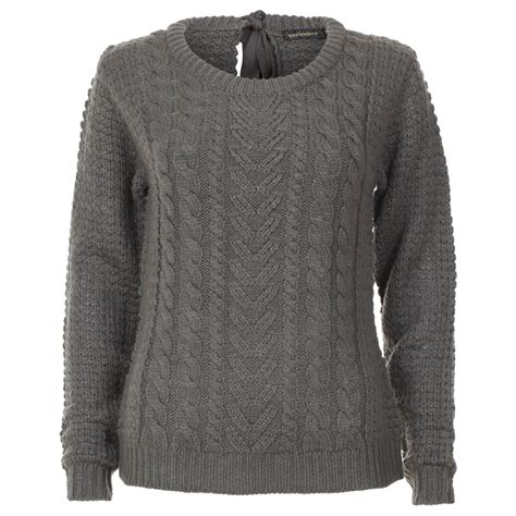 knitted jumper womens grey bow cable knit jumper