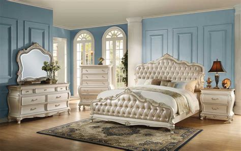 white and gold bedroom furniture the acme 23540q 4pcs chantelle gold pu pearl white