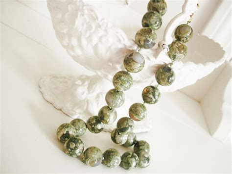 agate stones for jewelry vintage moss agate necklace green jewelry by