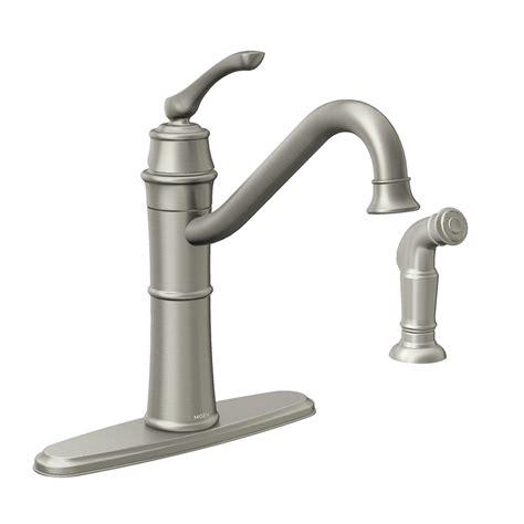 moen kitchen faucets shop moen wetherly spot resist stainless 1 handle high arc