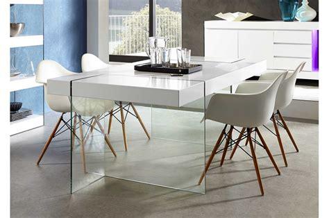 table de salle 224 manger design verre et laque mate blanche