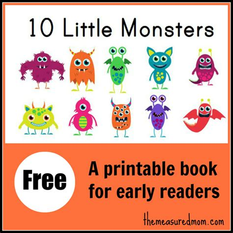 print picture books free 10 monsters printable reading book free