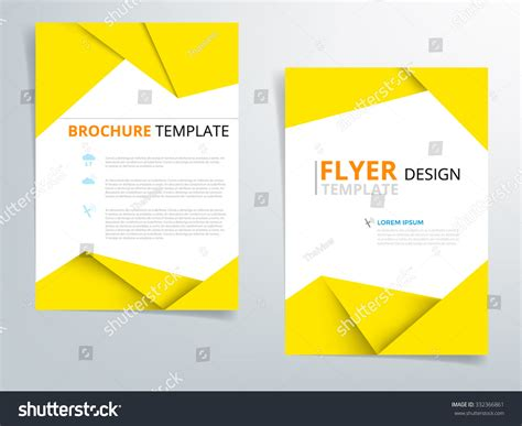 origami paper size template yellow brochure template flyer design vector stock vector