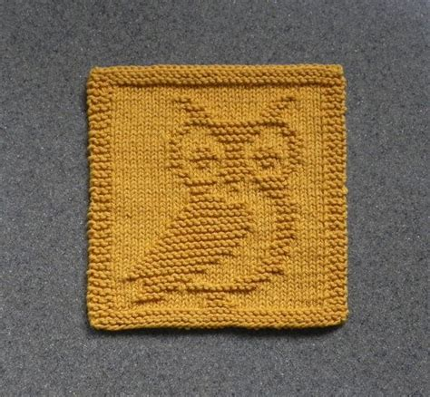 knit new knit dishcloth owl gho knitted unique by