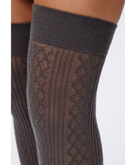 cable knit the knee socks missguided mairead acrylic cable knit the knee socks