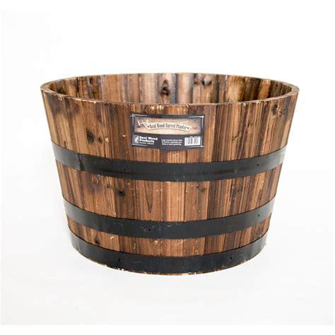wine barrel planters home depot real wood 26 in dia cedar half whiskey barrel planter