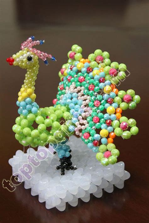beaded 3d animals gifts gt beaded decorations gt 3d beaded peacock animal