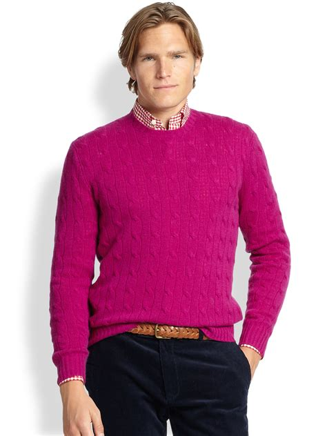 polo knit sweater polo ralph cable knit sweater in pink for