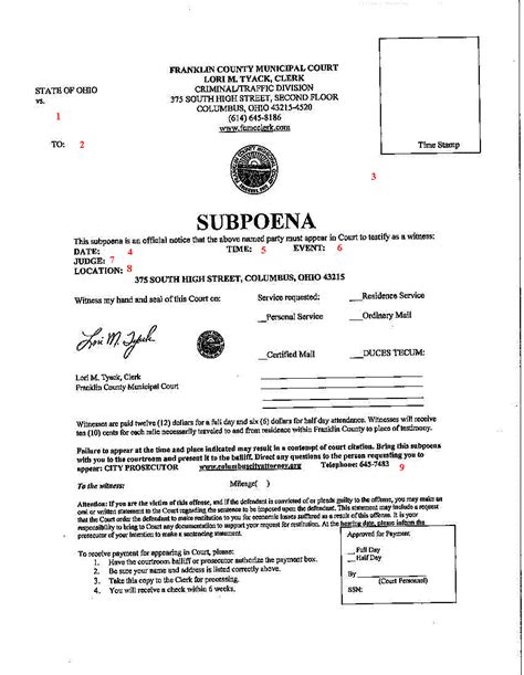 subpoena information