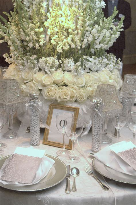 silver table decorations for parisian and silver wedding table decorations for