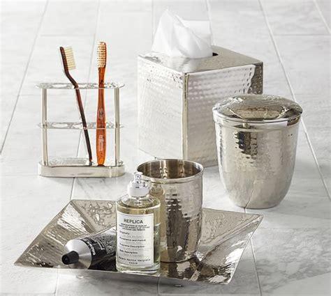 hammered nickel bath accessories pottery barn