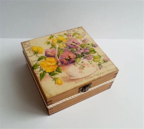 decoupage tea box made on order decoupage wooden tea box sping flowers with