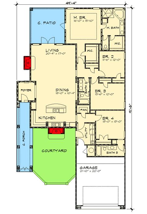floor plans for narrow lots plan w36818jg narrow lot courtyard home plan e architectural design