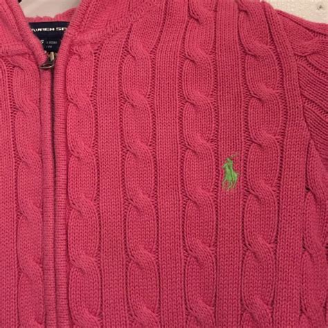 zip up cable knit sweater 88 polo by ralph sweaters pink hooded cable