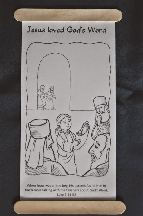 scroll craft for faith sprouts the boy jesus in the temple