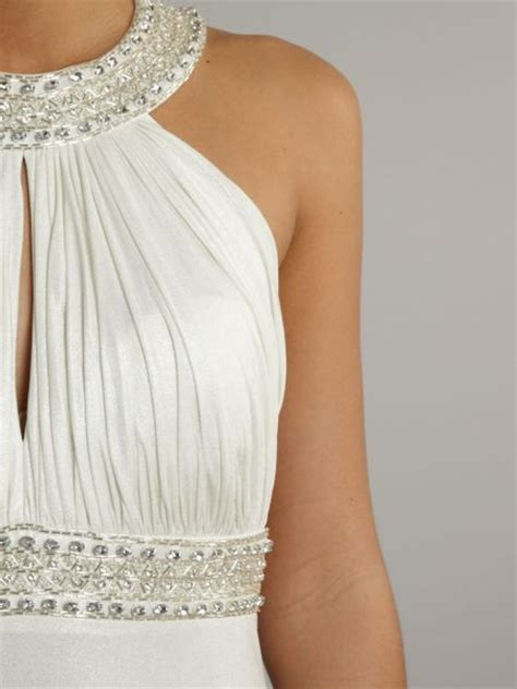beaded halter dress js collections keyhole beaded halter dress in white lyst