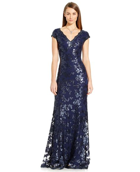 cap sleeve beaded sequined gown papell sequin embellished cap sleeve gown in blue