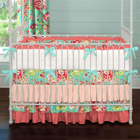 baby bedding collections coral and teal floral crib bedding baby bedding