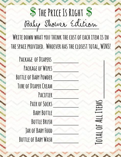 baby shower games price is right frugal fanatic