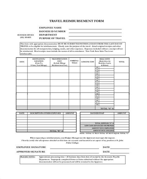 sample reimbursement form 9 examples in pdf word excel