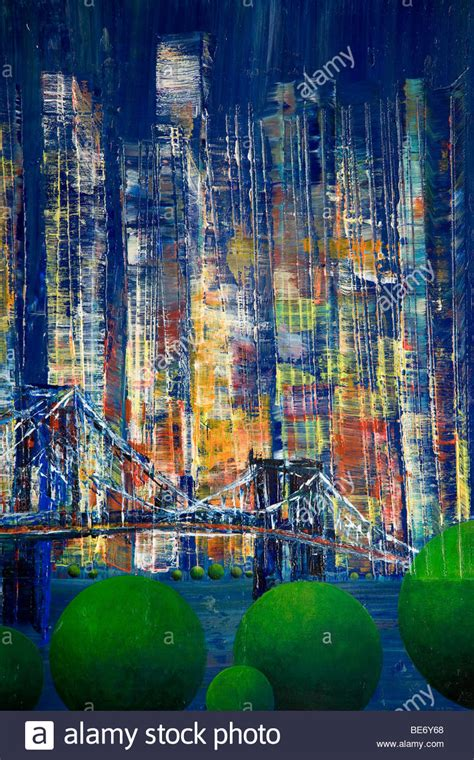 acrylic painting nyc bridge crossing the east river new york acrylic