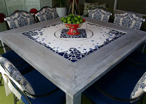 Mosaic Dining Room Table mosaic dining table with built in lazy susan hgtv