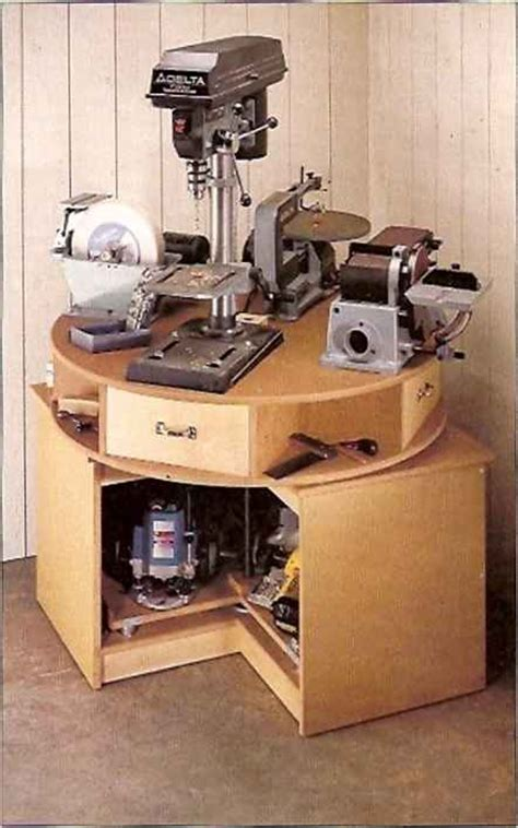 woodworking space a spinning carousel on top and a rotating turntable beloiv