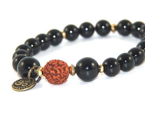 rudraksha mala rudraksha mala bracelet black onyx om symbol felt
