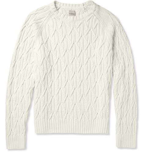 mens white cable knit sweater hardy amies cable knit cotton sweater in white for lyst