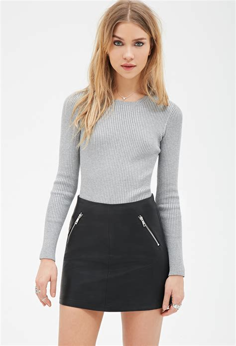 knitted sweaters forever 21 forever 21 fitted ribbed knit sweater in gray lyst