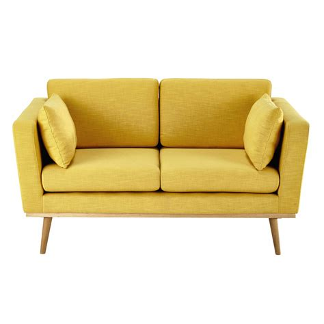 canap 233 2 places en tissu jaune timeo maisons du monde