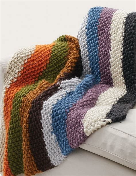 easy afghans to knit simple striped seed stitch afghan allfreeknitting