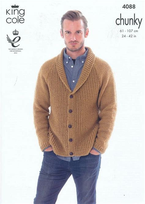 mens chunky knitting patterns cardigan and hoodie in king cole big value chunky 4088