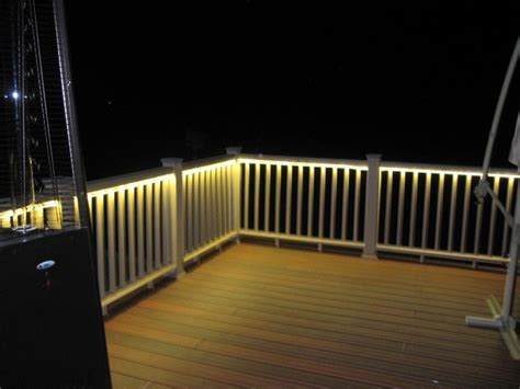 rope lights for decks deck and balcony design with led lighting traditional