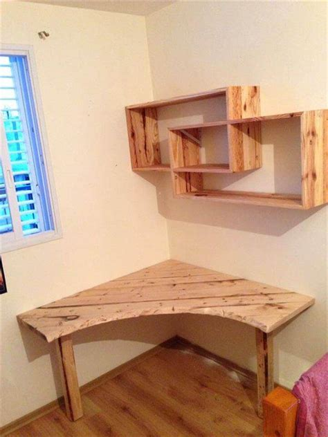 diy pallet desk with style shelves