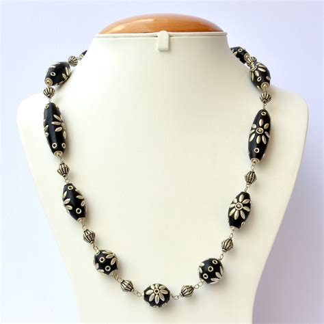 bead necklace designs handmade necklace with black metal flower