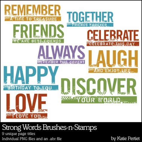 strong words brushes and stamps katie pertiet brushes