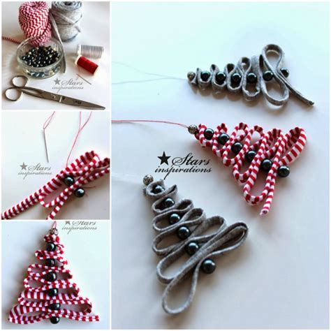 easy tree ornaments to make how to diy easy ribbon bead tree ornament www