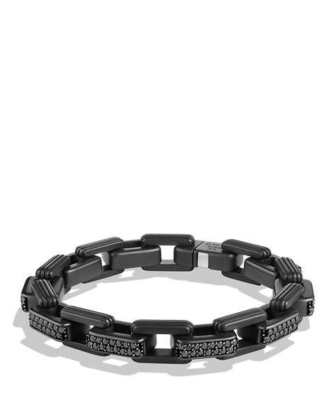 black bracelet david yurman royal cord link bracelet with black diamonds
