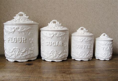 white kitchen canister set vintage canister set antique white with ornate details