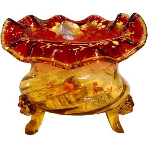 large chagne glass centerpiece bohemian amberina to large glass centerpiece