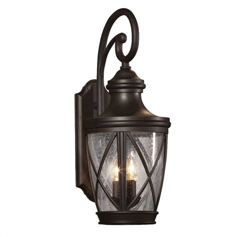 shop allen roth castine 23 75 in h rubbed bronze outdoor wall light at lowes