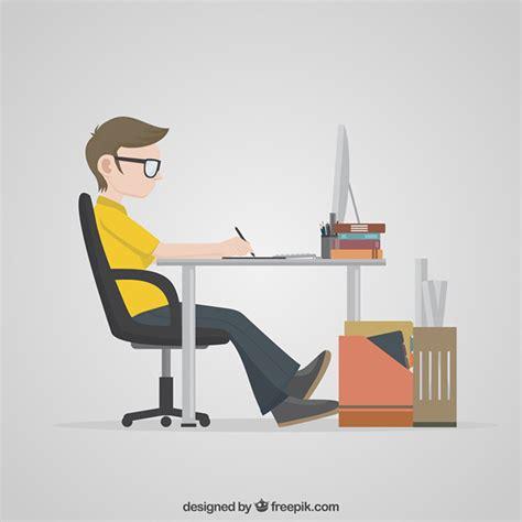Desighner designer working on his computer vector free download