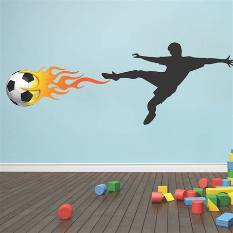 soccer wall stickers soccer player flames wall decal mural sports stickers