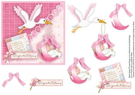 baby decoupage new baby stork square card decoupage cup166250