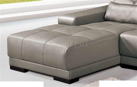 genuine leather sectional sofa grey genuine leather sectional sofa w adjustable headrests