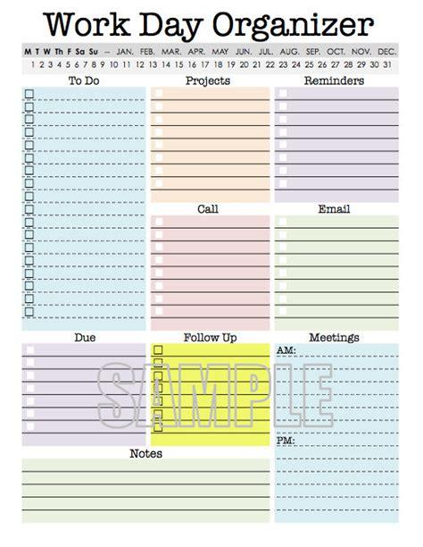 planning a for work work day organizer planner page work planner printable