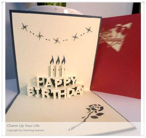 3d origami card origami handcrafted 3d greeting card birthday with candles