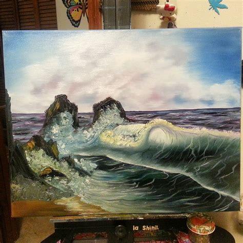 bob ross painting rocks waves of bob ross painting by lashink on deviantart